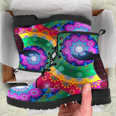 Handcrafted Glowing Chakra Boots .