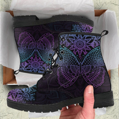 Handcrafted Purple Butterfly Boots .
