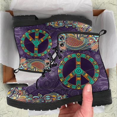 HandCrafted Purple Peace Mandala Boots