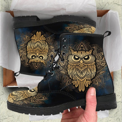 HandCrafted Gold Owl Boots