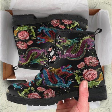 HandCrafted Dragons and Flowers Boots