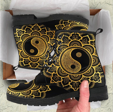 Handcrafted Gold Yin Yang Boots