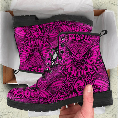 Handcrafted Pink Butterfly Boots
