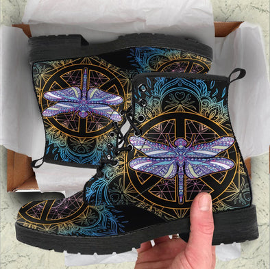 Handcrafted Peace Dragonfly Boots