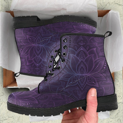 HandCrafted Purple Lotus Mandala Boots