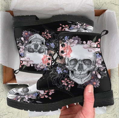 HandCrafted Colorful Skull Flowers Boots II