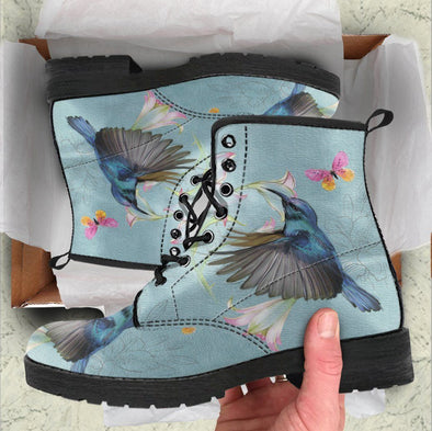 Handcrafted Sky Blue Hummingbird Boots
