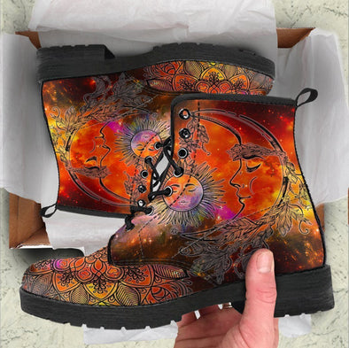 Handcrafted Colorful Sun and Moon Boots .