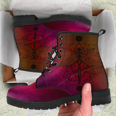 Handcrafted Scarlet Gradient Dragonfly Boots