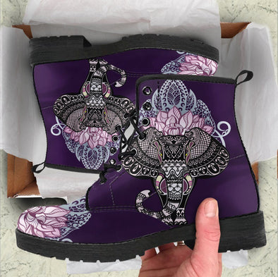 HandCrafted Purple Lotus Elephant Boots