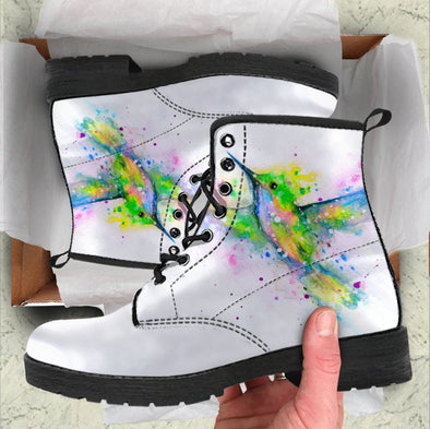 Whimsical Hummingbird White Boots