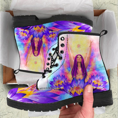 Handcrafted Purple Lotus Women Boots .