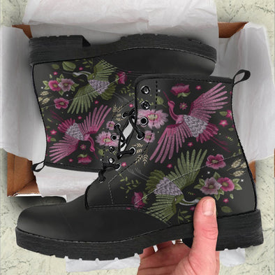 Handcrafted Moody Floral Bird Boots