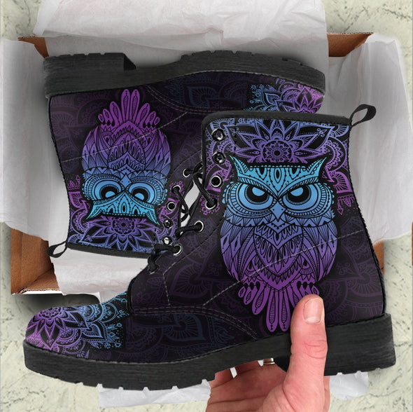 Handcrafted Purple Owl Boots .