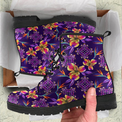 Handcrafted Purple Flower Mandala Boots