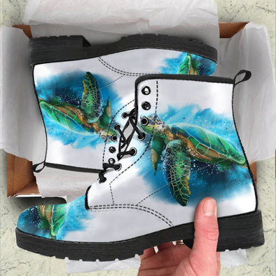 Handcrafted White Ocean Turtle Boots