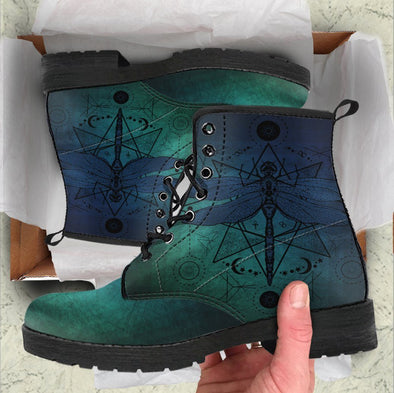 Handcrafted Blue Gradient Dragonfly Boots