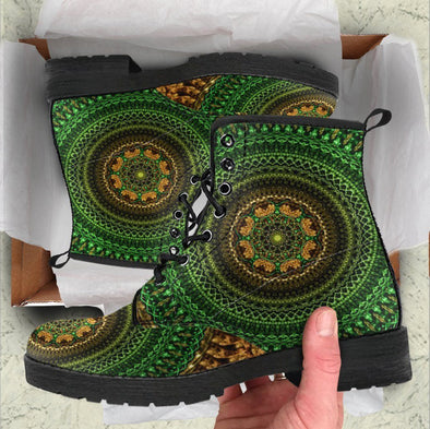 Handcrafted Gold Green Mandala Boots