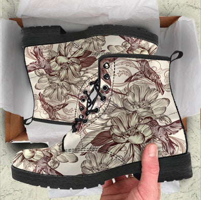 Earthly Brown Flower Hummingbird Boots