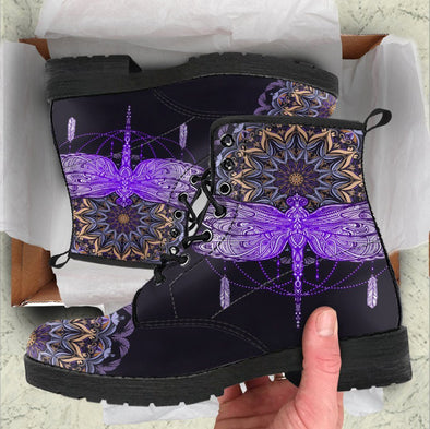 HandCrafted Purple Dragonfly Mandala Boots