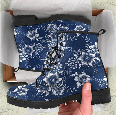 Handcrafted White Floral Blue Boots