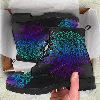 Handcrafted Blue Purple Tree of Life 1 Boots