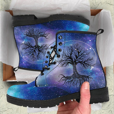 Handcrafted Blue Galaxy Tree of Life Boots