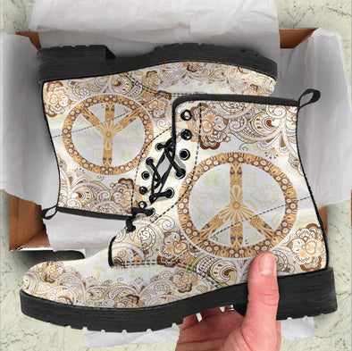 Handcrafted Beige Peace Mandala Boots