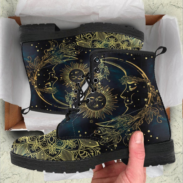 HandCrafted Sun and Moon Mandala Boots.