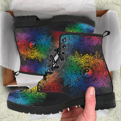 Handcrafted Colorful YinYang Mandala 3 Boots