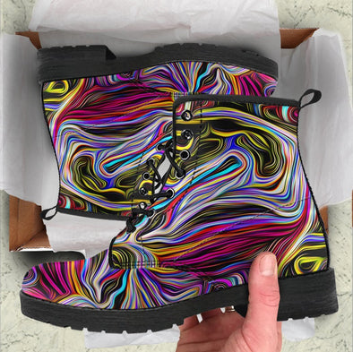 HandCrafted Colorful Psychedelic Art Boots