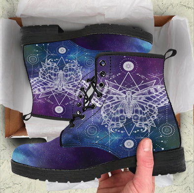 Handcrafted Galaxy Butterfly Boots