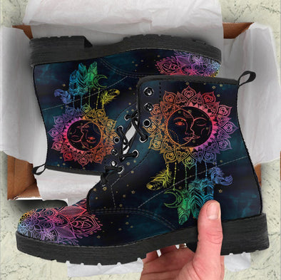 HandCrafted Colorful Sun and Moon Dream Catcher Boots