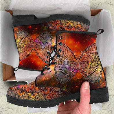 Handcrafted Colorful Butterfly Boots .