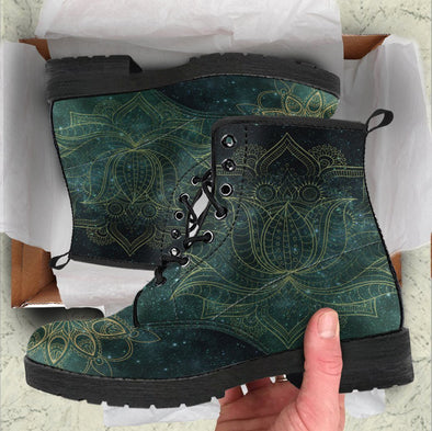 HandCrafted Green Lotus Mandala Boots