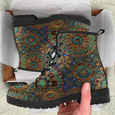 Handcrafted Rusty Gold Mandala Boots