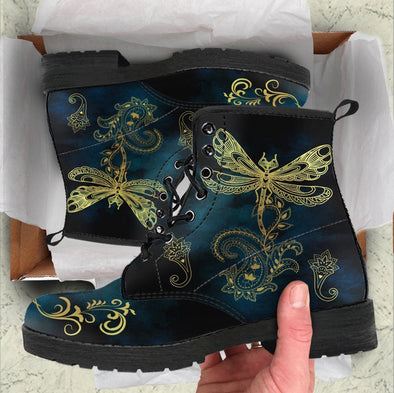 Handcrafted Gold Dragonfly 2 Boots