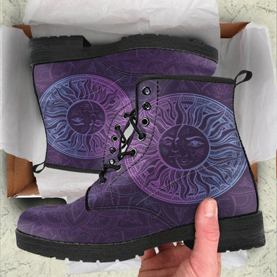 HandCrafted Purple Sun and Moon Boots