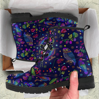 Handcrafted Knit Print Birds Boots