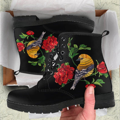 Handcrafted Bird Rose Boots