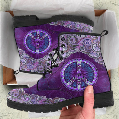 HandCrafted Purple and Peace Mandala Boots