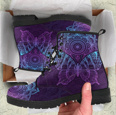 HandCrafted Purple Mandala Butterfly Boots