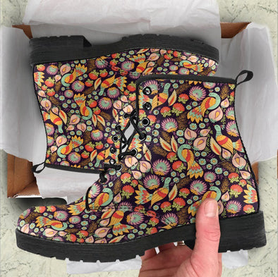 Handcrafted Bird Flower Pattern Boots