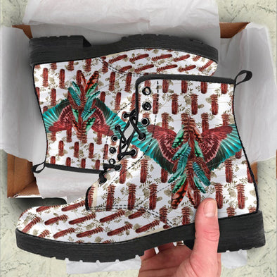 HandCrafted Feathered Brown Cyan Wings Boots