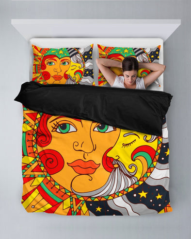 Sun and Moon Vintage Colorful Bedding Set
