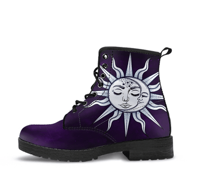 Dark Purple Handcrafted Peaceful Sun and Moon Boots