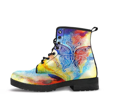 HandCrafted Colorful Butterfly Fractal Boots