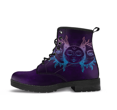 Handcrafted Sun and Moon Dark Purple Boots