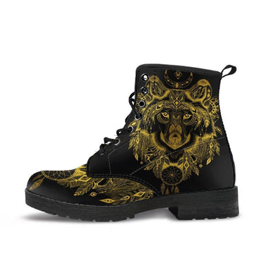 HandCrafted Gold Wolf Head Boots