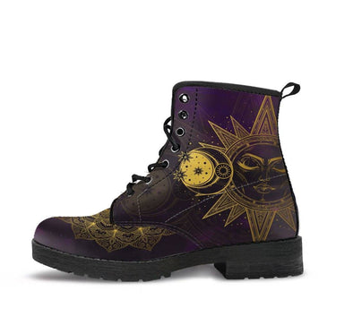 HandCrafted Purple Sun and Moon Mandala Boots.